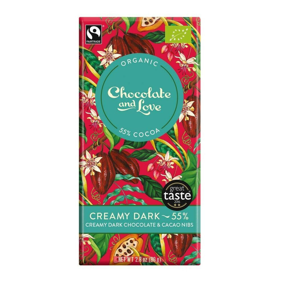 Chocolate and Love chocoladereep - Creamy Dark 55% - 80 gram