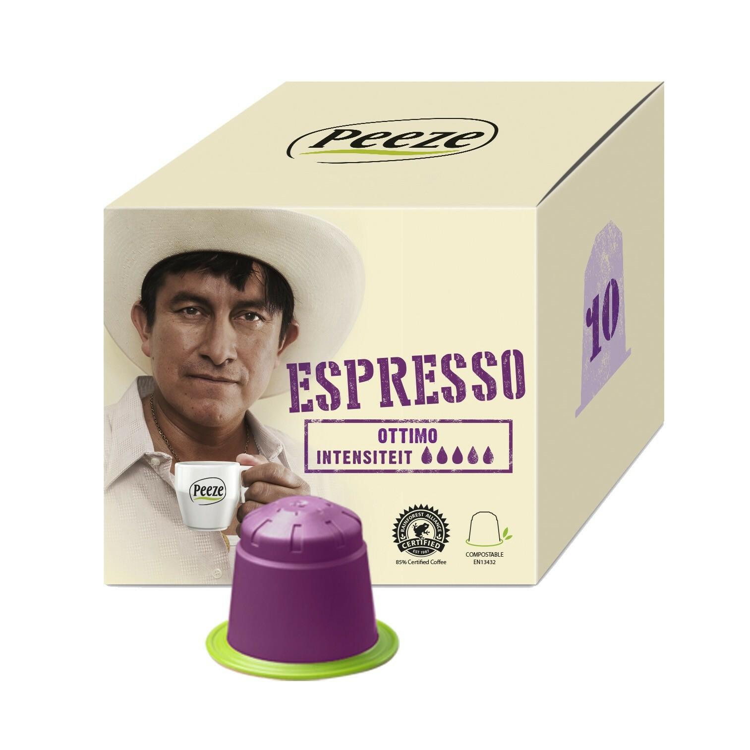 Koffiecups Ottimo - 100% composteerbaar en Nespresso® compatible