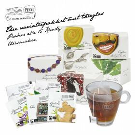 Thee variatiepakket met 15 theesmaken en theeglas