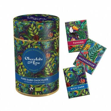 Cadeaublik met mini chocoladereepjes in de smaken Rich Dark, Madagascar en Panama - 165 gram
