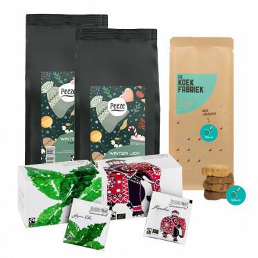 Binnenkort beschikbaar - Koffiebonen en thee cadeaupakket - wintereditie
